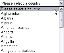 Country dropdown list starting with Afghanistan