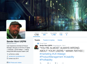 Twitter Profile Screenshot: Sander Nizni