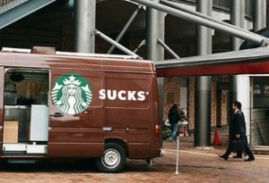 Brown Starbucks Truck with door open: Customer Experience - Usability of Starbucks Point-of-Sale Systems